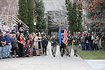 Officials unveil a freeway sign dedicating I-580 in honor of Carson City Sheriff's Deputy Carl Howell during a ceremony at the Nevada Law Enforcement Officers Memorial in Carson City, Nev., on Tuesday, Dec. 8, 2015. <br /> Photo by Cathleen Allison/Nevada Photo Source