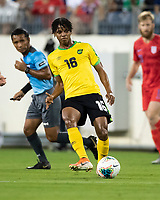 NASHVILLE, TN - JULY 3: Peter Vassell #16 passes the ball during a game between Jamaica and USMNT at Nissan Stadium on July 3, 2019 in Nashville, Tennessee.
