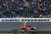 Monster Energy NASCAR Cup Series<br /> Hollywood Casino 400<br /> Kansas Speedway, Kansas City, KS USA<br /> Sunday 22 October 2017<br /> Martin Truex Jr, Furniture Row Racing, Bass Pro Shops / Tracker Boats Toyota Camry, crosses the finish line to win in Kansas.<br /> World Copyright: John K Harrelson<br /> LAT Images