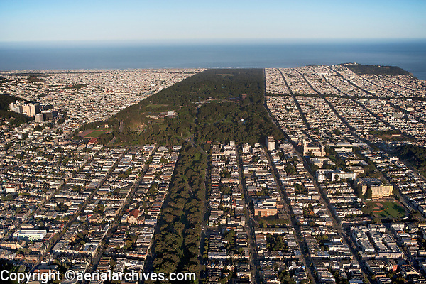 aerial photograph of Golden Gate Park and the Panhandle, San Francisco, California
