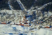 Aerial view of kennicottt copper mine, Wrangell St. Elias National Park, Alaska.