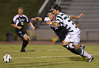 Number 8 ranked Charlotte beats number 16 ranked Coastal Carolina 1-0 on a goal by Thomas Allen in the 101st minute during the second overtime.  Anthony Perez (21), Nick May (16)