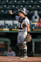 Jupiter Hammerheads catcher Sharif Othman (30) during a game against the Bradenton Marauders on June 25, 2014 at McKechnie Field in Bradenton, Florida.  Bradenton defeated Jupiter 11-0.  (Mike Janes/Four Seam Images)