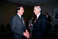 April 1988 File Photo - Edgard Bronfman (L) and Paul Desmarais (R)<br /> <br /> Desmarais passed away October 2013<br />  - PHOTO D'ARCHIVE :  Agence Quebec Presse