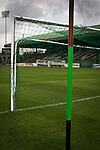 Glentoran 2 Cliftonville 1, 22/10/2016. The Oval, NIFL Premiership. A view of the goals painted in club colours at The Oval, Belfast, pictured before Glentoran hosted city-rivals Cliftonville in an NIFL Premiership match. Glentoran, formed in 1892, have been based at The Oval since their formation and are historically one of Northern Ireland's 'big two' football clubs. They had an unprecendentally bad start to the 2016-17 league campaign, but came from behind to win this fixture 2-1, watched by a crowd of 1872. Photo by Colin McPherson.