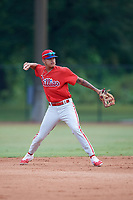 Philadelphia Phillies Arquimedes Gamboa (30) throws to first base during an Instructional League game against the Toronto Blue Jays on September 30, 2017 at the Carpenter Complex in Clearwater, Florida.  (Mike Janes/Four Seam Images)