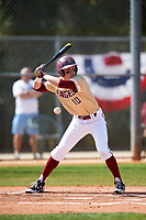 Boston College Eagles left fielder Michael Strem (10) avoids an inside pitch while at bat during a game against the Central Michigan Chippewas on March 3, 2017 at North Charlotte Regional Park in Port Charlotte, Florida.  Boston College defeated Central Michigan 5-4.  (Mike Janes/Four Seam Images)