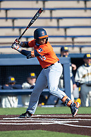 Illinois Fighting Illini outfielder Taylor Jackson (15) at bat during the NCAA baseball game against the Michigan Wolverines on March 19, 2021 at Fisher Stadium in Ann Arbor, Michigan. Illinois won the game 7-4. (Andrew Woolley/Four Seam Images)