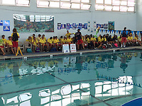 The Boys & Girls Club Swimming Pool, Clairemont, San Diego CA, USA. June 26 2015: San Diego Junior Lifeguards get a introduction to SCUBA.  More than 100 San Diego Junior Lifeguards particiapted in a PADI Discover Scuba Diving Program hosted by the San Diego Junior Lifeguard Foundation. Instrurctors from Ocean Enterprises took the students through an introductory course in SCUBA.  Afterwards, students were introduced to the work of the San Diego Lifeguard Dive Team by Lifeguard Brittany Rowe.