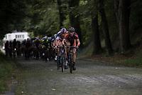 David Boucher (BEL/Pauwels sauzen - Vastgoedservice) with Mathieu van der Poel (NED/Beobank-Corendon) in his wheel<br /> <br /> Dwars door het Hageland (1.1)<br /> 1 Day Race: Aarschot > Diest (194km)