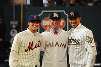 Shortstop Gavin Cecchini (Barbe H.S.) the number tweleve overall pick to the New York Mets, Pitcher Andrew Heaney (Oklahoma State) the number nine overall pick to the Miami Marlins and Shortstop Carlos Correa (Puerto Rico Baseball Academy) the number one overall pick to the Houston Astros during the MLB Draft on Monday June 04,2012 at Studio 42 in Secaucus, NJ.   (Tomasso DeRosa/ Four Seam Images)