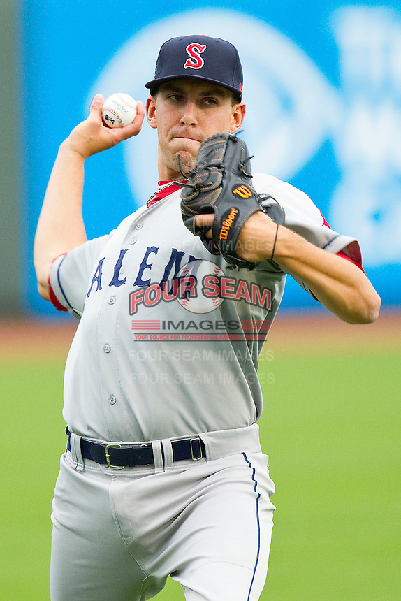 Salem Red Sox starting pitcher Matt Barnes #35 warms up in the outfield prior to the game against the Winston-Salem Dash at BB&T Ballpark on May 5, 2012 in Winston-Salem, North Carolina.  The Red Sox defeated the Dash 6-4.  (Brian Westerholt/Four Seam Images)