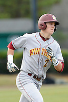 Third baseman Mitch Spires (2) of the Winthrop University Eagles in a game against the University of South Carolina Upstate Spartans on Wednesday, March 4, 2015, at Cleveland S. Harley Park in Spartanburg, South Carolina. Upstate won, 12-3. (Tom Priddy/Four Seam Images)
