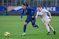 French Amel Majri (10) , Swiss Thais Hurni (16) pictured during the 2nd Womens International Friendly game between France and Switzerland at Stade Saint-Symphorien in Longeville-lès-Metz, France.