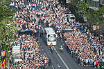 Thousands of Real Madrid soccer fans line the street to greet arrival of team coach prior their 2016-17 UEFA Champions League Quarter-finals second leg match between Real Madrid and FC Bayern Munich at the Estadio Santiago Bernabeu on 18 April 2017 in Madrid, Spain. Photo by Diego Gonzalez Souto / Power Sport Images