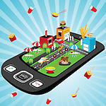 Illustrative representation showing the use of mobile phone to order for food