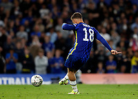 22nd September 2021; Stamford Bridge, Chelsea, London, England; EFL Cup football, Chelsea versus Aston Villa; Ross Barkley of Chelsea taking a penalty during the penalty shootout