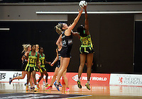 16.09.2016 Silver Ferns Te Paea Selby-Rickit and Jamaica's Malysha Kelly in action during traning ahead of the last Taini Jamison netball match between the Silver Ferns and Jamaica to be played in Rotorua. Mandatory Photo Credit ©Michael Bradley.