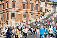 The popular Spanish Steps area attracts heavy tourist crowds, Rome, Italy