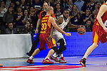 Real Madrid´s Kevin Rivers and Galatasaray´s Arroyo during 2014-15 Euroleague Basketball match between Real Madrid and Galatasaray at Palacio de los Deportes stadium in Madrid, Spain. January 08, 2015. (ALTERPHOTOS/Luis Fernandez)