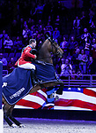OMAHA, NEBRASKA - MAR 30: McLain Ward's mount HH Azur rears during the awards ceremony for the FEI World Cup Jumping Final I at the CenturyLink Center on March 30, 2017 in Omaha, Nebraska. (Photo by Taylor Pence/Eclipse Sportswire/Getty Images)