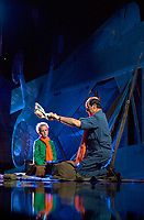 May 8 2003, Montreal, Quebec, Canada<br /> <br /> 10 year old Nicolas Bellefleur-Bondu (L) and Michel Rivard (R) in LE PETIT PRINCE musical comedy, based on Antoine de St-Exupery book, may 8 2003 at the St-Denis Theater, in Montreal, CANADA.