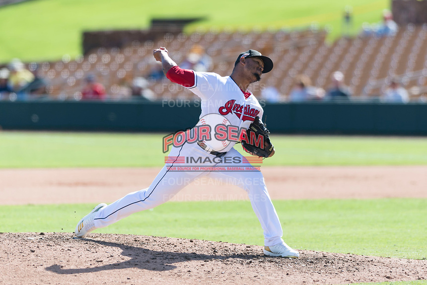Glendale Desert Dogs relief pitcher Dalbert Siri (39), of the Cleveland Indians organization, delivers a pitch during an Arizona Fall League game against the Scottsdale Scorpions at Camelback Ranch on October 16, 2018 in Glendale, Arizona. Scottsdale defeated Glendale 6-1. (Zachary Lucy/Four Seam Images)