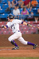 Greg Paiml #3 of the Winston-Salem Dash follows through on his swing versus the Frederick Keys at Wake Forest Baseball Stadium August 8, 2009 in Winston-Salem, North Carolina. (Photo by Brian Westerholt / Four Seam Images)
