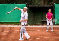 Hilversum, The Netherlands,  August 20, 2021,  Tulip Tennis Center, NKS, National Senior Tennis Championships, Women's Doubles 70+, Wil Baks (NED) (L) and Patricia Blaas-van den Heuvel (NED)<br /> Photo: Tennisimages/Henk Koster
