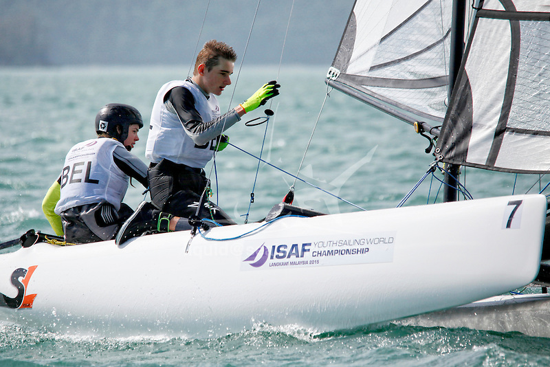 BelgiumSirena SL16OpenCrewBELMW2MorganWirtz<br /> BelgiumSirena SL16OpenHelmBELES4EugénieSimons<br /> Day4, 2015 Youth Sailing World Championships,<br /> Langkawi, Malaysia