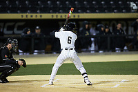 Michael Turconi (6) of the Wake Forest Demon Deacons at bat against the Louisville Cardinals at David F. Couch Ballpark on March 6, 2020 in  Winston-Salem, North Carolina. The Cardinals defeated the Demon Deacons 4-1. (Brian Westerholt/Four Seam Images)