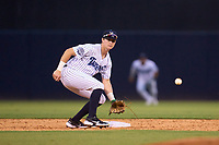 Tampa Tarpons shortstop Trey Sweeney (4) fields a pickoff throw during a game against the Clearwater Threshers on August 10, 2021 at George M. Steinbrenner Field in Tampa, Florida.  (Mike Janes/Four Seam Images)