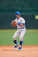 Central Connecticut State Blue Devils shortstop Jeremy Sagun (5) during warmups before a game against the North Dakota State Bison on February 23, 2018 at North Charlotte Regional Park in Port Charlotte, Florida.  North Dakota State defeated Connecticut State 2-0.  (Mike Janes/Four Seam Images)
