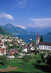 Switzerland, Canton Lucerne, Weggis: famous holiday resort with parish church