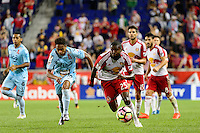 Harrison, NJ - Thursday Sept. 15, 2016: Oscar Guerrero, Chris Duvall during a CONCACAF Champions League match between the New York Red Bulls and Alianza FC at Red Bull Arena.