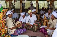 Jatiluwih, Bali, Indonesia.  A  Gamelan Orchestra,  Luhur Bhujangga Waisnawa Hindu Temple.  Men in front are playing cymbals and a gong.