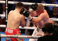 9th October 2021; M&S Bank Arena, Liverpool, England; Matchroom Boxing, Liam Smith versus Anthony Fowler; LIAM SMITH (Liverpool, England)clinches with ANTHONY FOWLER (Liverpool, England) during their WBA International Super-Welterweight Title contest
