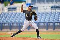 FCL Pirates Black pitcher Kelvin Disla (67) during a game against the FCL Rays on August 3, 2021 at Charlotte Sports Park in Port Charlotte, Florida.  (Mike Janes/Four Seam Images)