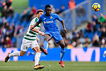 Dakonam Djene of Getafe CF (R) fights for the ball with Sergi Enrich Ametller of SD Eibar (L) during the La Liga 2017-18 match between Getafe CF and SD Eibar at Coliseum Alfonso Perez Stadium on 09 December 2017 in Getafe, Spain. Photo by Diego Souto / Power Sport Images
