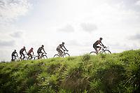 early escape group of the day ready to attack the La Houppe climb<br /> <br /> 58th E3 Harelbeke 2015