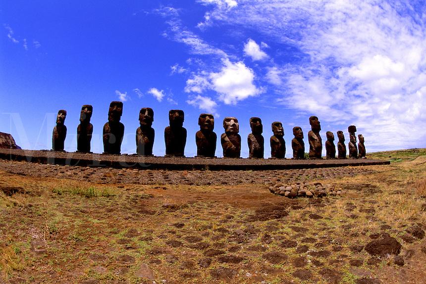 Ahu Tongarriki Platform in Easter Island during Tapati Festival Rapa Nui.