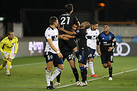 SAN JOSE, CA - OCTOBER 07: Andy Rios #25 of the San Jose Earthquakes celebrates scoring with teammates during a game between Vancouver Whitecaps and San Jose Earthquakes at Earthquakes Stadium on October 07, 2020 in San Jose, California.