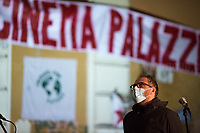 """Valerio Mastandrea (Director and Actor).   <br /> <br /> Rome, 03/12/2020. Today, the Nuovo Cinema Palazzo Community held a second public assembly (1.) in Rome's San Lorenzo district to protest against the eviction of the """"Nuovo Cinema Palazzo"""" completed by the Italian police forces in the early morning of the 25th of November and to demonstrate against the violent reaction of the Police forces when, in the evening of the same day, a large demo asked to have the chance to hold a public assembly in the square (Piazza dei Sanniti) of the cinema (2.). The public assembly of today saw the participation and the support & solidarity of the representatives of movements, actors, musicians, students, artists, politicians, and citizens of San Lorenzo who told their stories and memories related to the famous Rome's Art and culture occupation (For example, actor Marcello Fonte, Best Actor Award of the 2018 Cannes Film Festival for the film Dogman, was among the first group of occupiers of the Nuovo Cinema Palazzo). The assembly of the 1st December was interrupted due to the bad weather (3).<br /> The Nuovo Cinema Palazzo was occupied the 15th of April 2011, when citizens, movements, workers of the entertainment industry reopened the former """"Palazzo Cinema"""" to prevent the opening of a casino/gambling space. The illegal occupation was intended as a public hub of art, culture, sport and politics, an open place for exchange, discussion, studies, caring and sharing.<br /> <br /> Footnotes & Links:<br /> 1. http://bit.do/fLCpE<br /> 2. Demo And Clashes Against Nuovo Cinema Palazzo Eviction in Rome's San Lorenzo: http://bit.do/fLxgz<br /> 3. http://bit.do/fLCr3<br /> Previous Stories about Nuovo Cinema Palazzo: 14.04.2018 - Nuovo Cinema Palazzo's Concert: """"7 Anni di CasiNò 