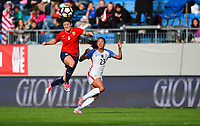 Sandefjord, Norway - June 11, 2017: Maren Mjelde and Christen Press in action during their game vs Norway in an international friendly at Komplett Arena.