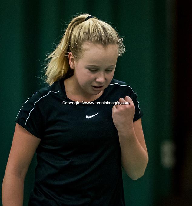 Wateringen, The Netherlands, December 1,  2019, De Rhijenhof , NOJK 12 and16 years, Final girls 12 years: Britt du Pree (NED) cellebrates her win.<br /> Photo: www.tennisimages.com/Henk Koster