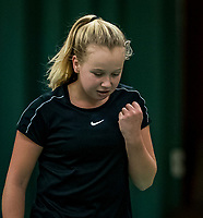 Wateringen, The Netherlands, December 1,  2019, De Rhijenhof , NOJK 12 and16 years, Final girls 12 years: Britt du Pree (NED) cellebrates her win.<br /> Photo: www.tennisimages.com/Henk Koster