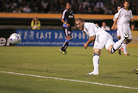 Bryan Jordan scores. San Jose Earthquakes tied Los Angeles Galaxy 1-1 at the McAfee Colisum in Oakland, California on April 18, 2009.
