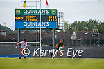 Peter Harte, Tyrone, in action against Gavin White, Kerry, during the Allianz Football League Division 1 Semi-Final, between Tyrone and Kerry at Fitzgerald Stadium, Killarney, on Saturday.