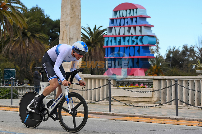 European Champion Stefan Küng (SUI) Groupama-FDJ during Stage 7 of Tirreno-Adriatico Eolo 2021, an individual time trial running 10.1km around San Benedetto del Tronto, Italy. 16th March 2021. <br /> Photo: LaPresse/Marco Alpozzi | Cyclefile<br /> <br /> All photos usage must carry mandatory copyright credit (© Cyclefile | LaPresse/Marco Alpozzi)