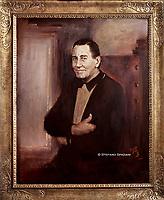 ritratto ufficiale di  Alberto Sordi nel centenario dalla sua nascita 1925/2020, foto realizzata nello studio del pittore Rinaldo Geleng in occasione del suo ritratto ufficiale. Roma 2000